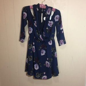 Navy and Purple Floral Long Sleeve Dress